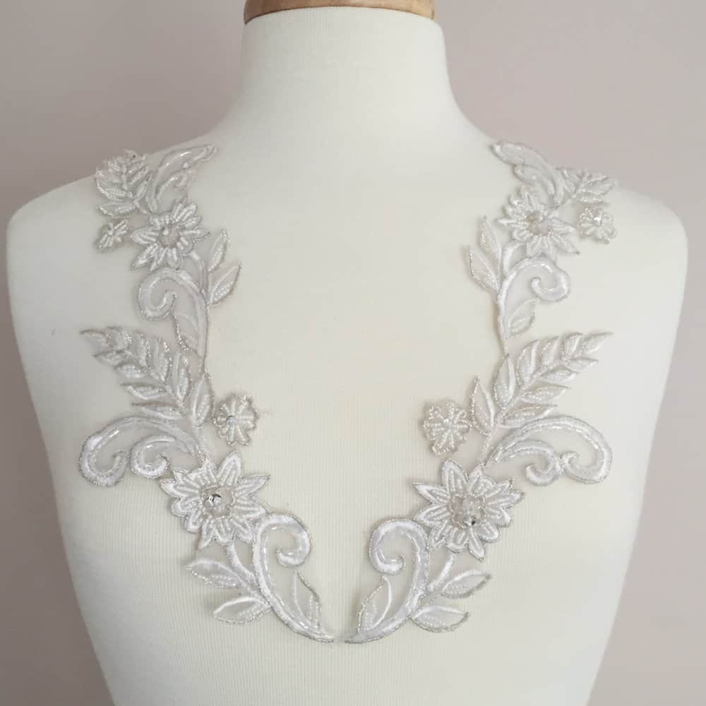 Matching Willa Embroidered Beaded Lace Applique