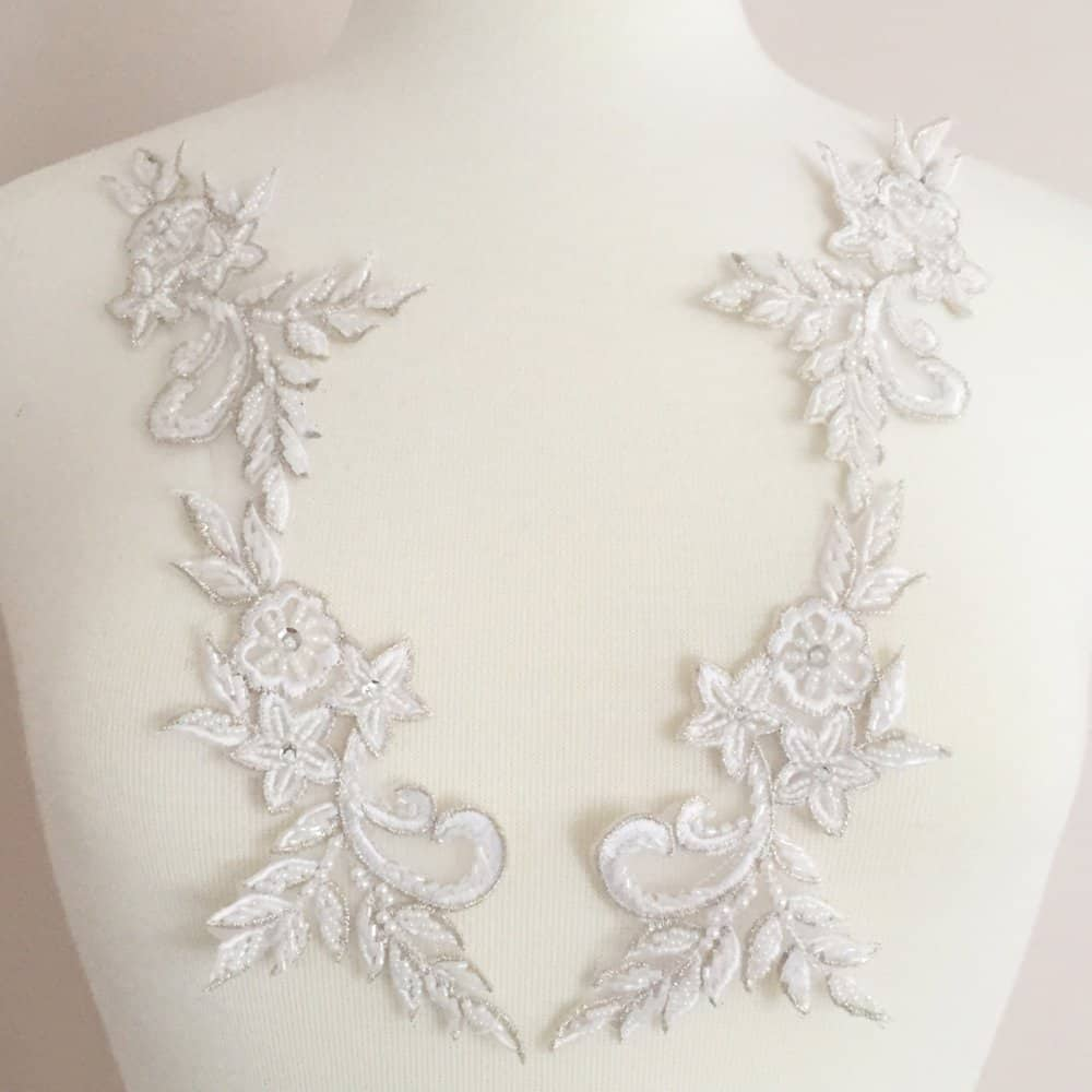 Matching Edie Embroidered Beaded Lace Applique