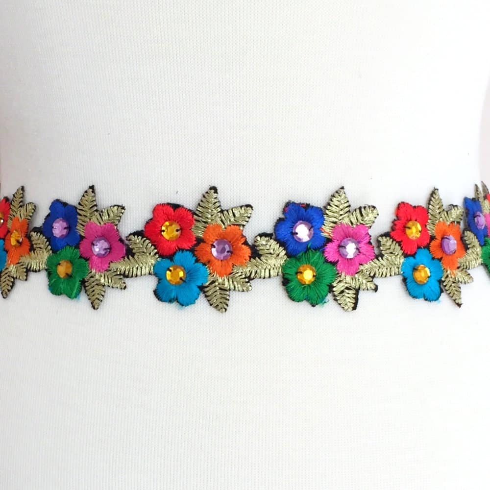 Floral Bouquet Embroidered Acrylic Trim (Iron-On)