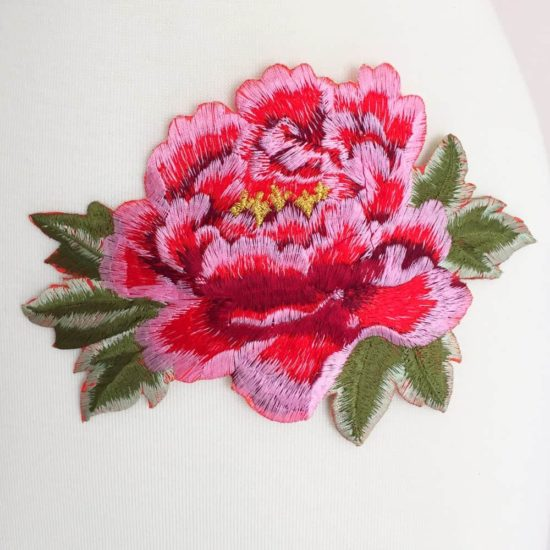 Embroidered Peony Flower (Iron-On)