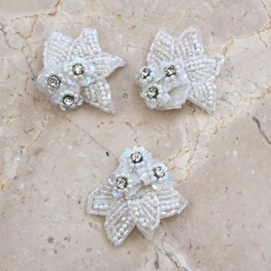 Petit Fleurs Beaded Rhinestone Applique (Set of 3)