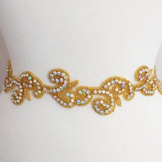 Gold AB Rhinestone Swirl Trim