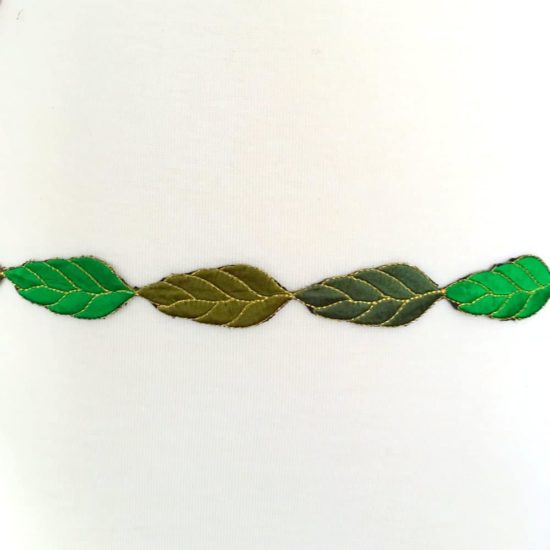 Embroidered Green Leaf Medley Trim