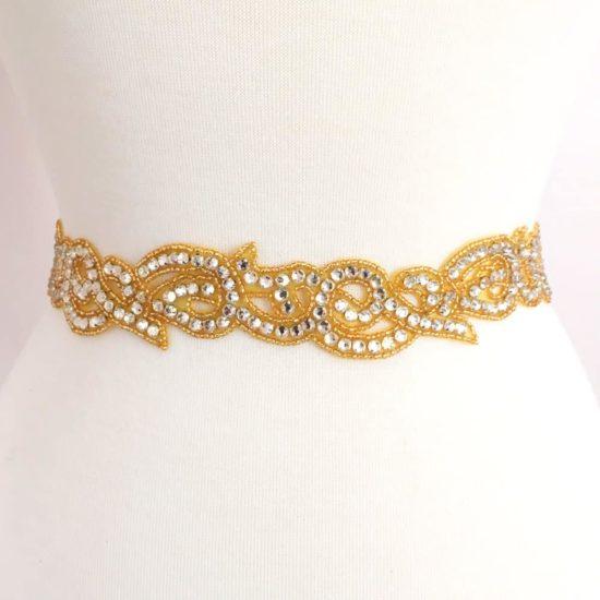 Gold Rhinestone Swirl Trim