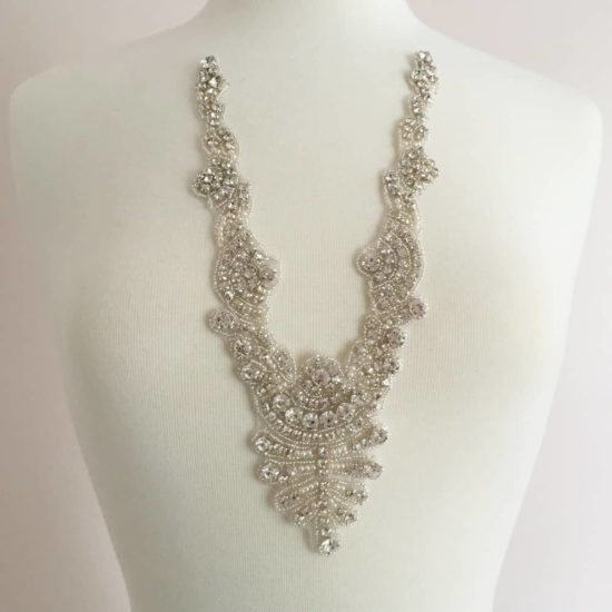 Zaya Crystal Pearl Neckline Applique (Iron-On)