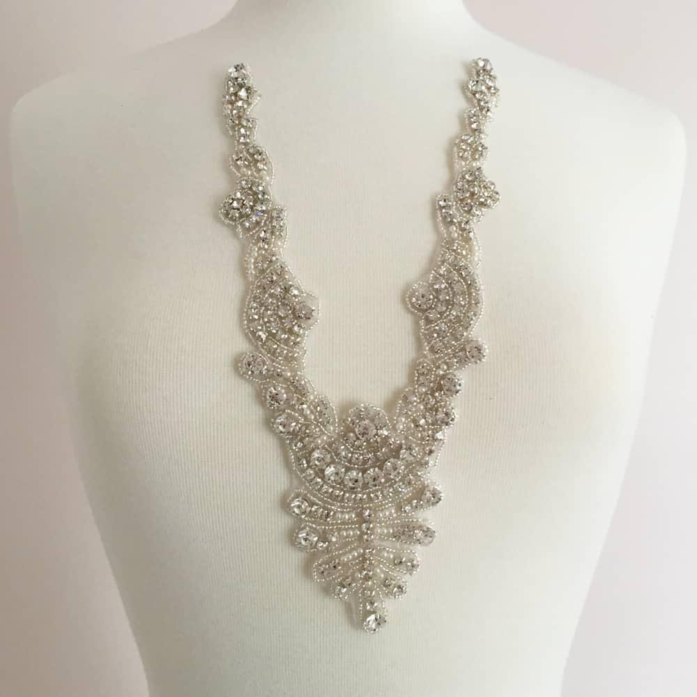 Zaya Crystal Pearl Neckline Applique (Iron-On)