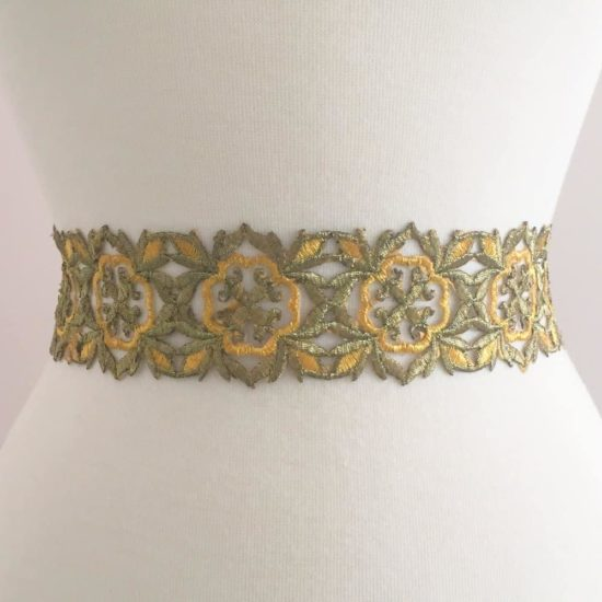 Two Tone Gold Embroidered Trim (Iron-On)