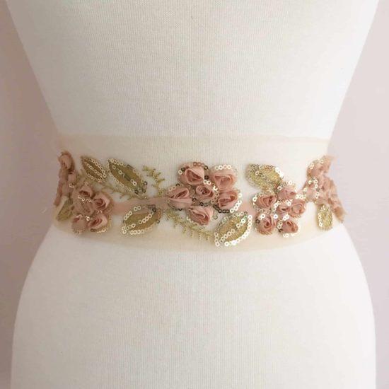 "2"" Floral Organza Sequin Overlay Trim"