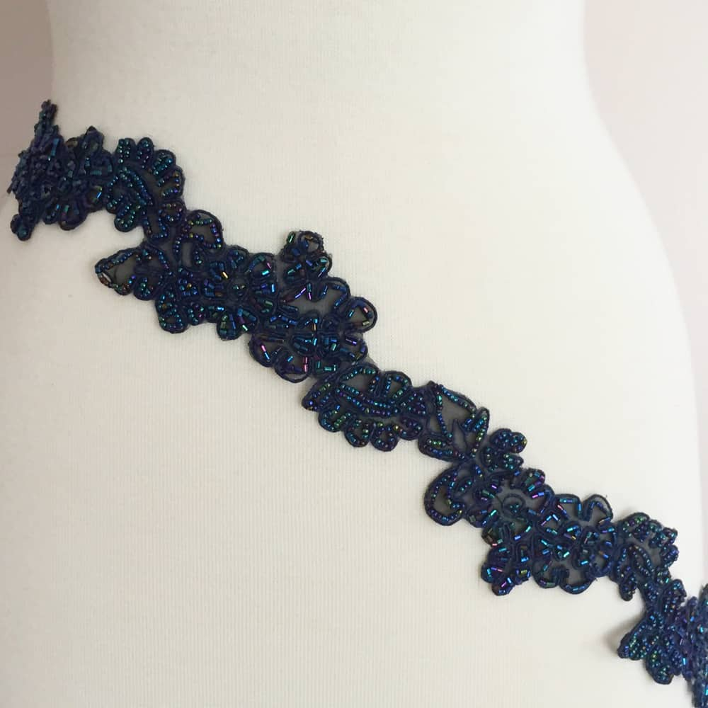 Floral Embroidered Beaded Trim
