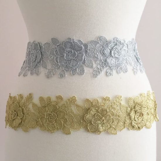 Embroidered Metallic 3D Floral Trim
