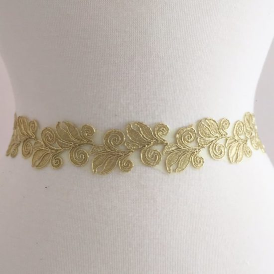 Embroidered Metallic Leaf Trim