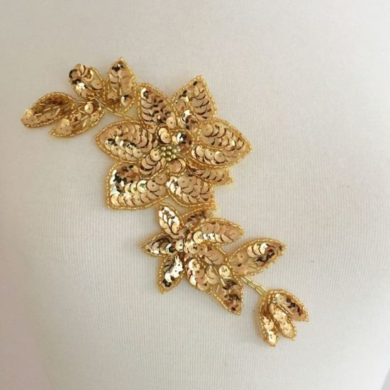 Floral Motif Sequin Applique