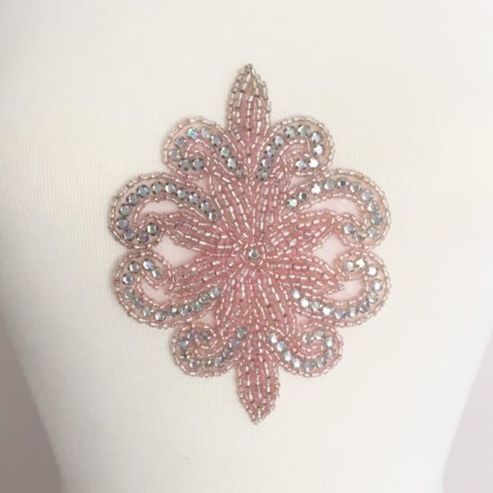Pink Rhinestone Emblem Applique (Iron-On)