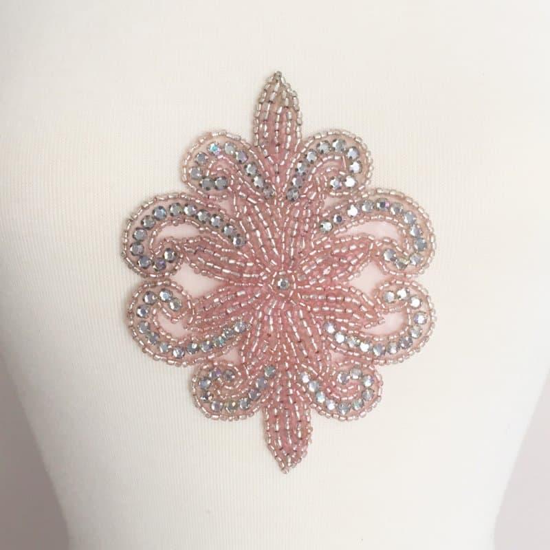Pink Rhinestone Emblem Applique (Iron-On)