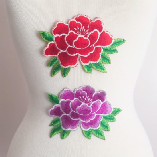 Embroidered Outlined Peony Flower (Iron-On)