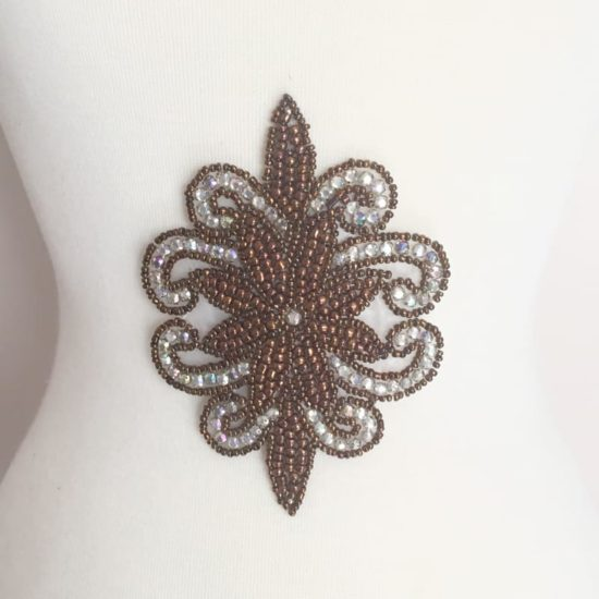 Bronze Rhinestone Emblem Applique (Iron-On)