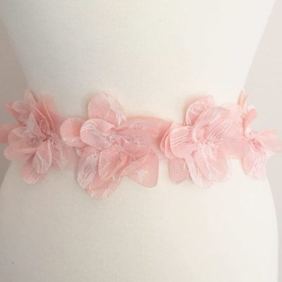 Lace Overlay Flutter Flower Trim