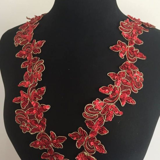 Embroidered Bead Sequin Floral Trim