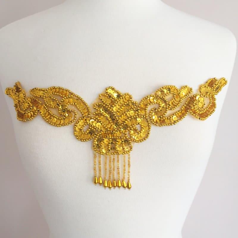 Sequin Bead Center Applique (Gold or Silver)