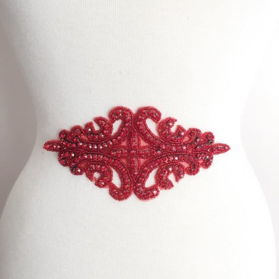 Red Large Rhinestone Emblem Applique