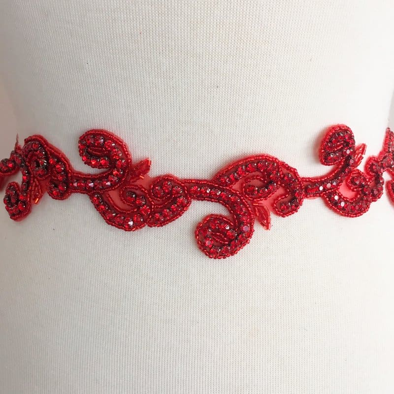 Red Rhinestone Swirl Trim
