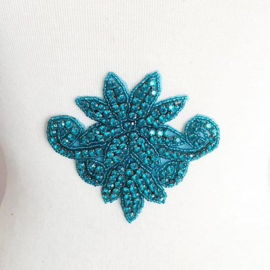 Teal Turquoise Clovis Rhinestone Applique