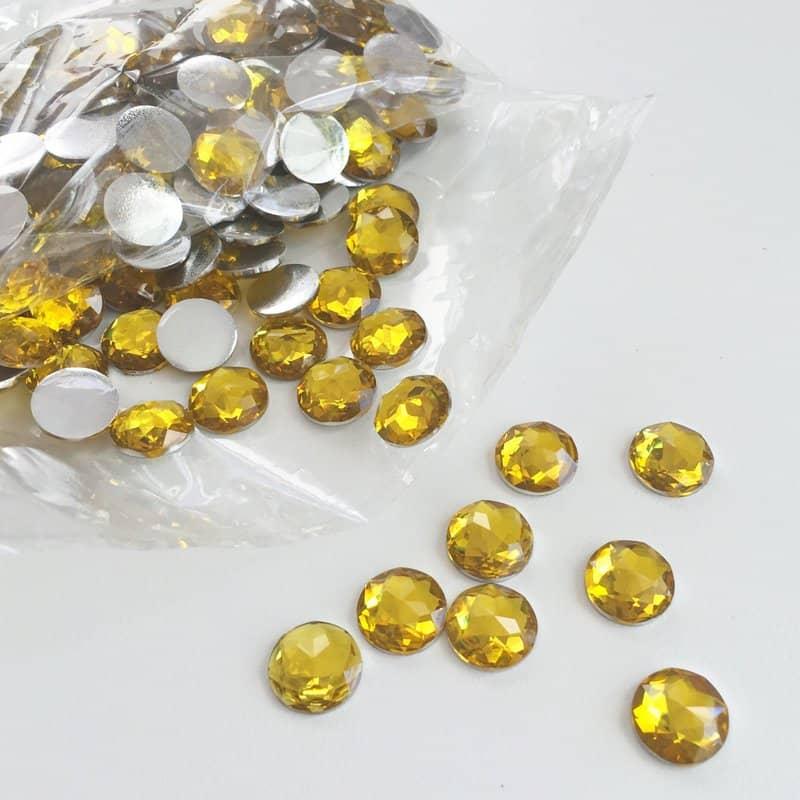 Light Topaz Round Acrylic Gem Stones 13mm (Pack of 200)