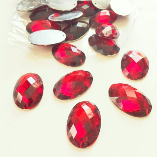Ruby Siam Oval Acrylic Gem Stones 20x30mm (Pack of 35)