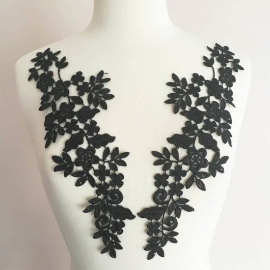Toya Venice Lace Applique Black (SOLD AS PAIR)