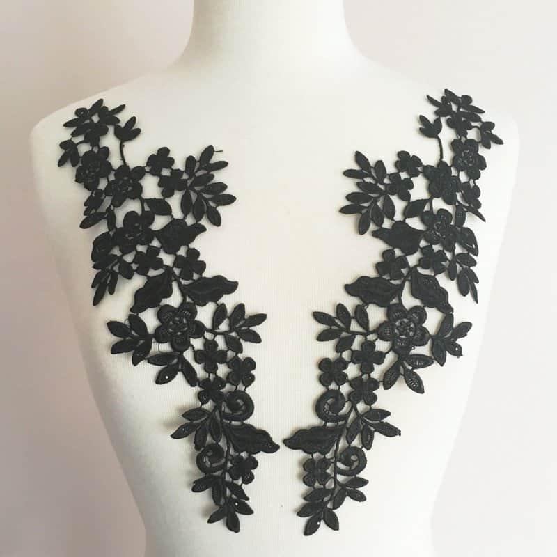 Toya Venice Lace Applique Black (SOLD AS PAIR)
