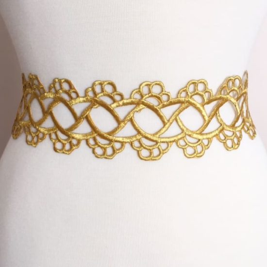 Gold Embroidered Scroll Band