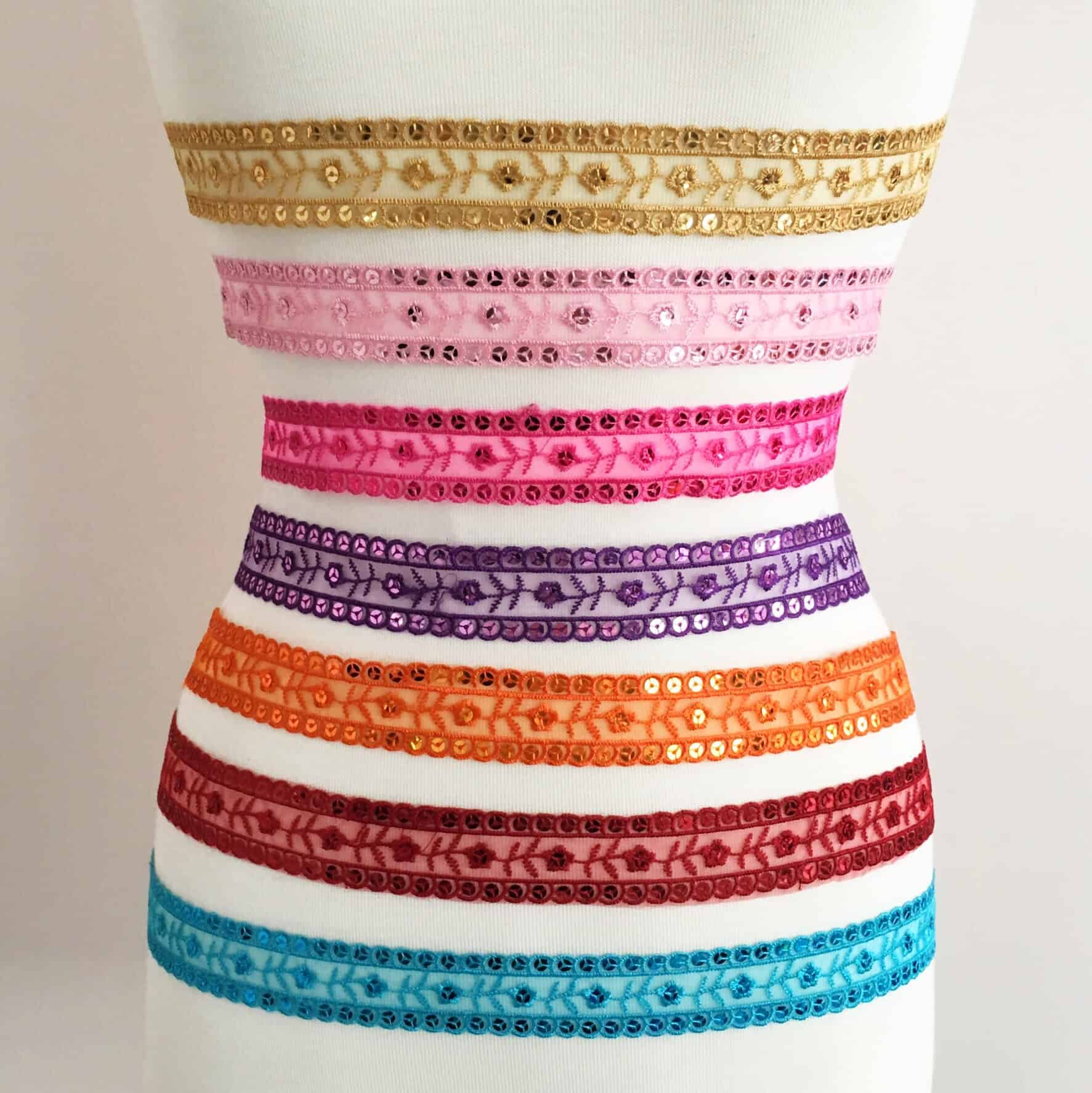 Embroidered Trim with Sequins (Choose Color)