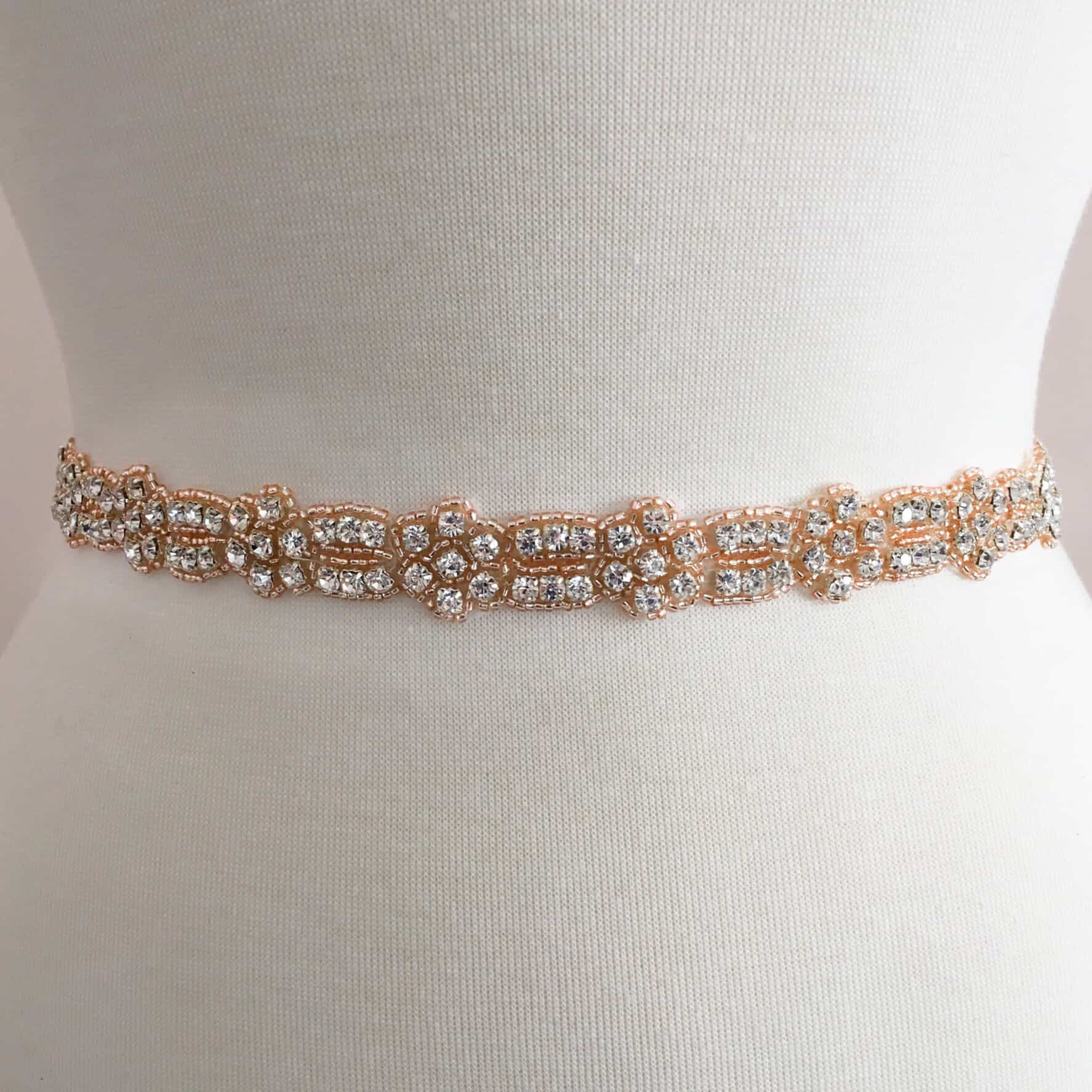 Rose Gold Eunice Rhinestone Beaded Trim