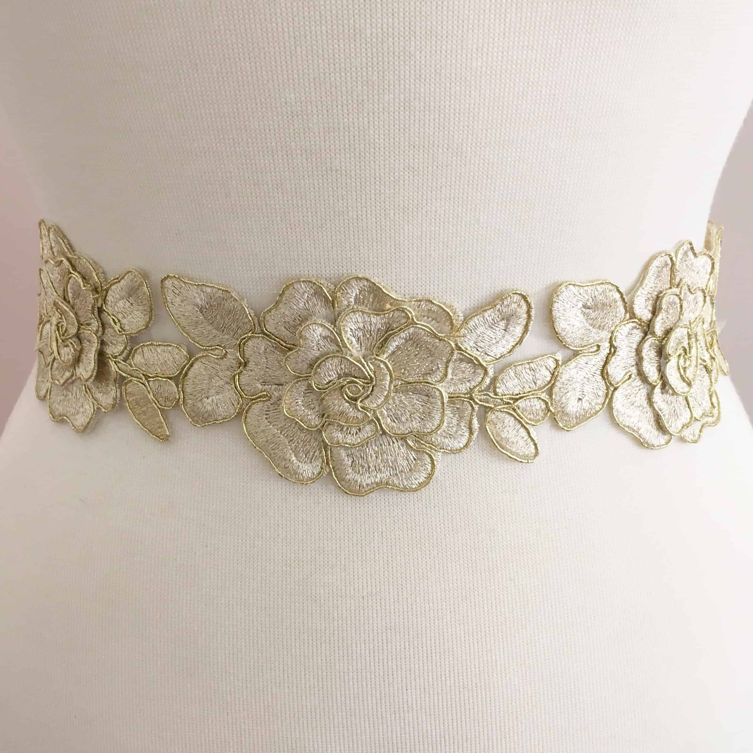 Metallic Embroidered Scroll Trim