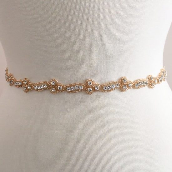 Rose Gold Champagne Peach Chiqui Narrow Rhinestone Trim