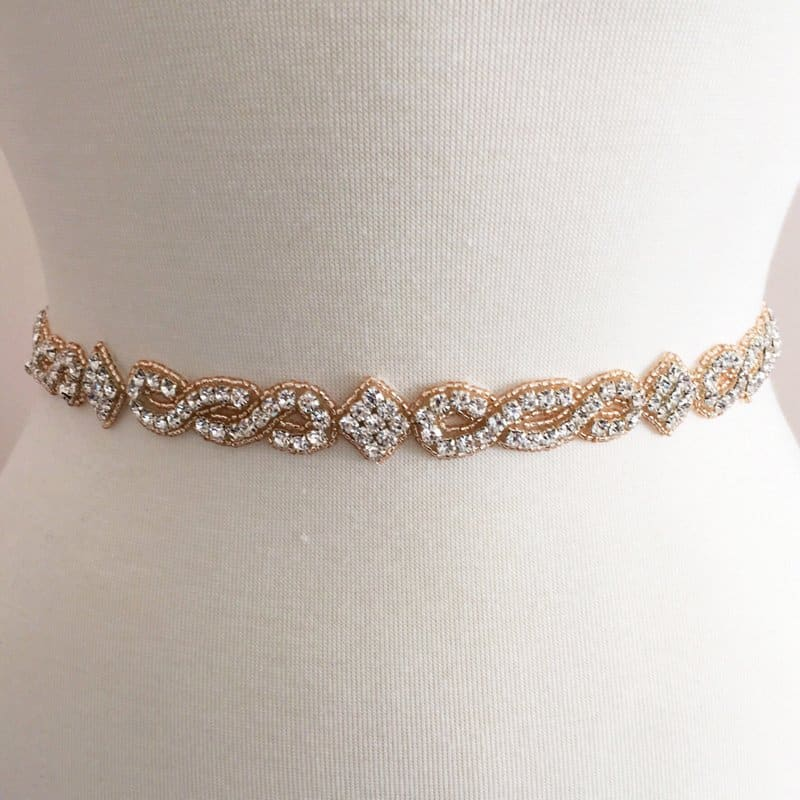Rose Gold Champagne Peach Regalia Rhinestone Beaded Trim