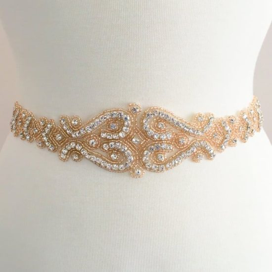 Rose Gold Champagne Peach Layla Rhinestone Belt Sash Applique