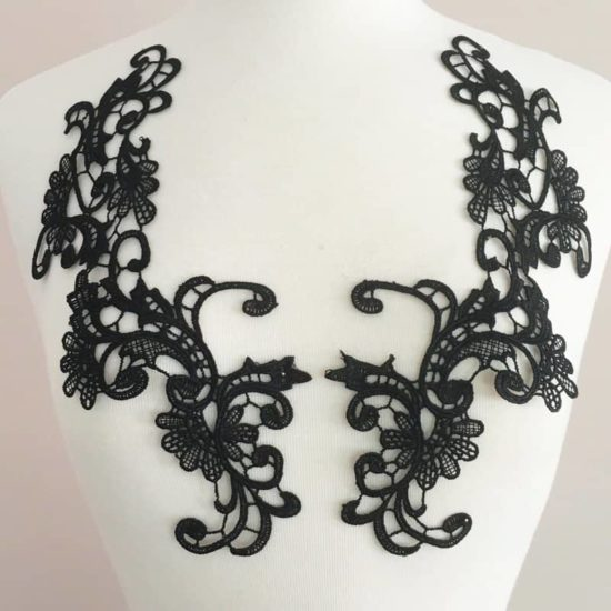 Eva Venice Lace Applique Black (SOLD AS PAIR)