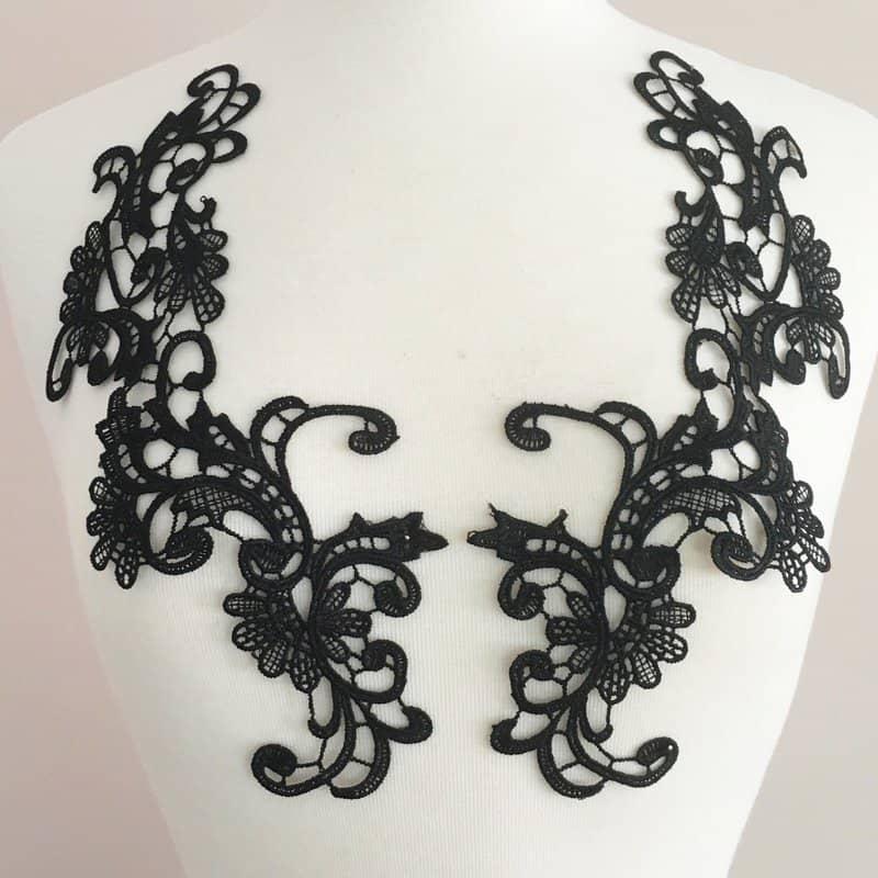 Eva Venice Lace Applique Black (SOLD AS PAIR)