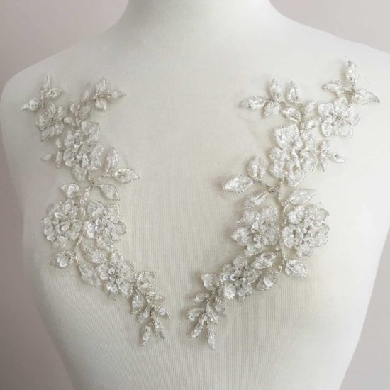 Matching Maya Beaded Embroidered Lace Applique (SOLD AS PAIR)