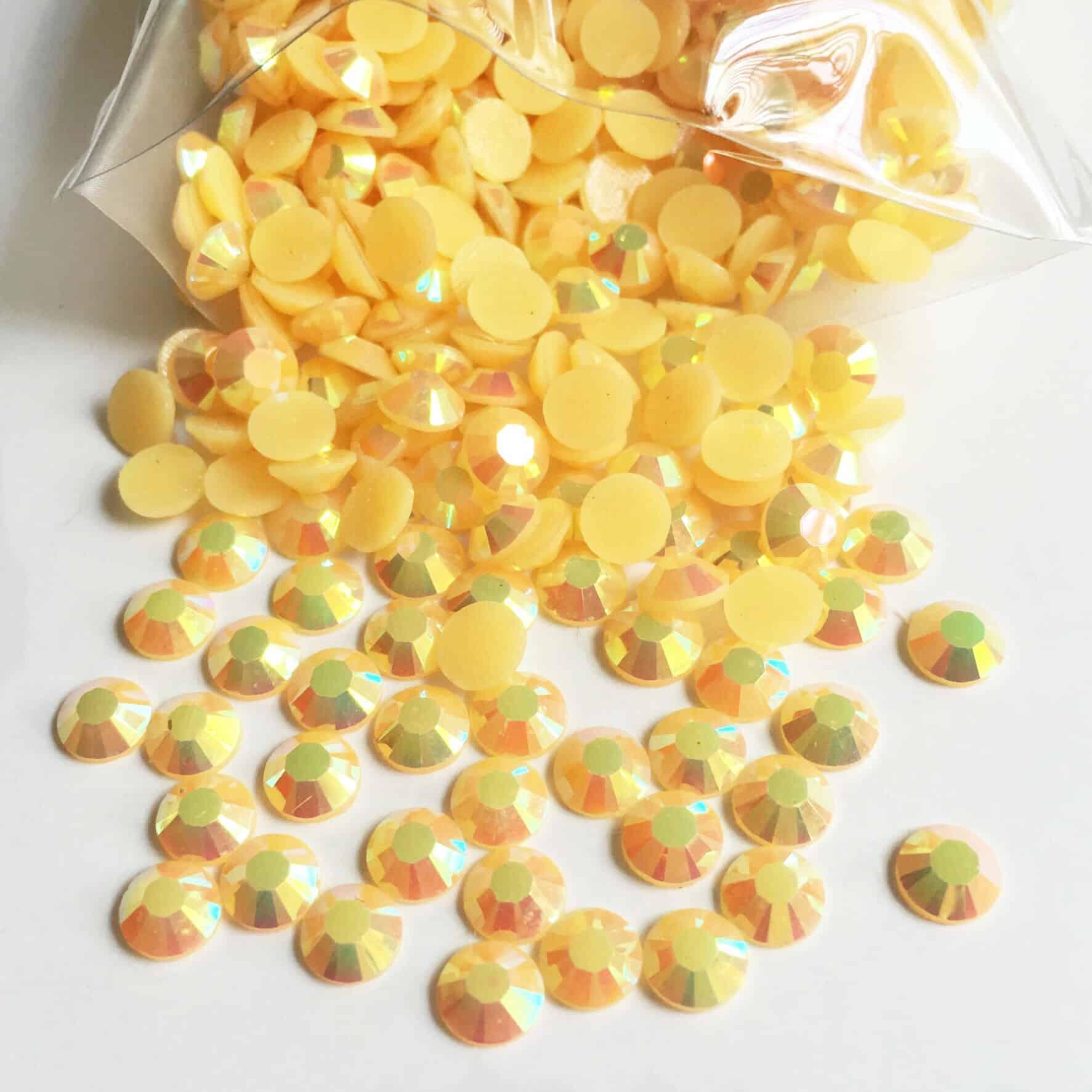 Acrylic Flatback Gem Stones (YELLOW AB) SS30 (PACK OF 1000)