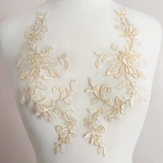 Matching Felicity Embroidered Lace Applique (SOLD AS A PAIR)