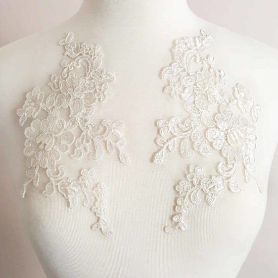 Matching Monique Embroidered Lace Applique (SOLD AS A PAIR)