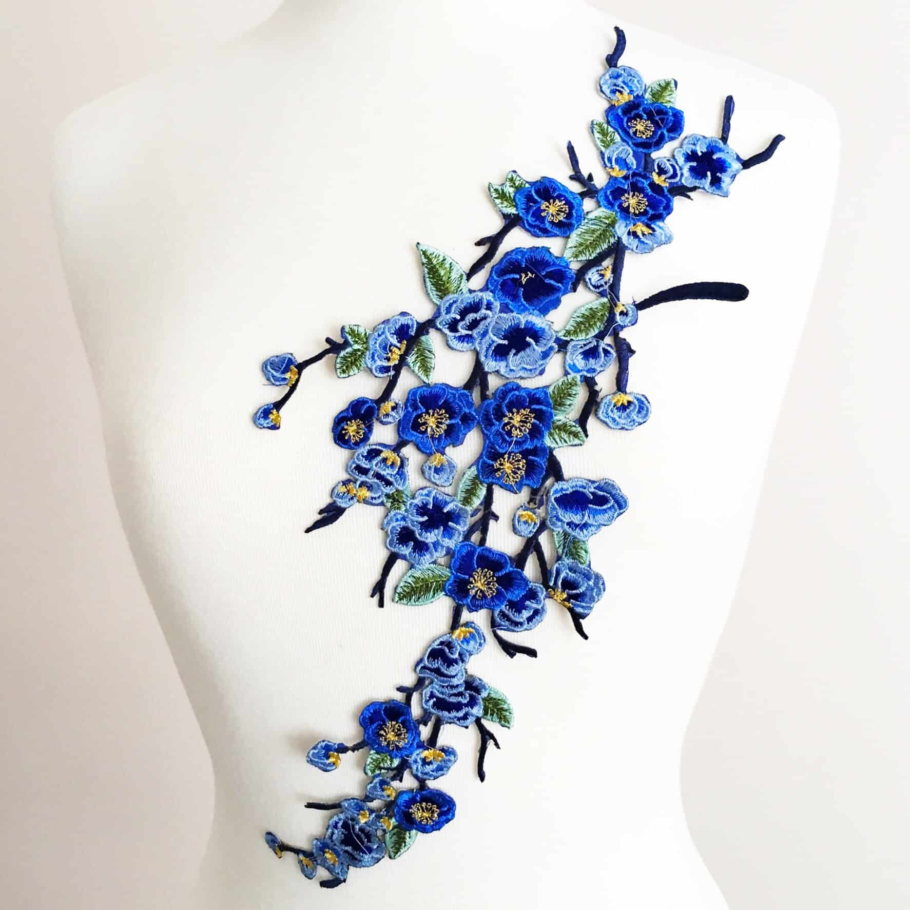 Embroidered Blossom Branch Flower (Iron-On)