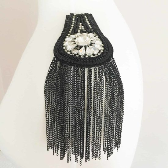 Crystal and Metal Fringe Epaulet