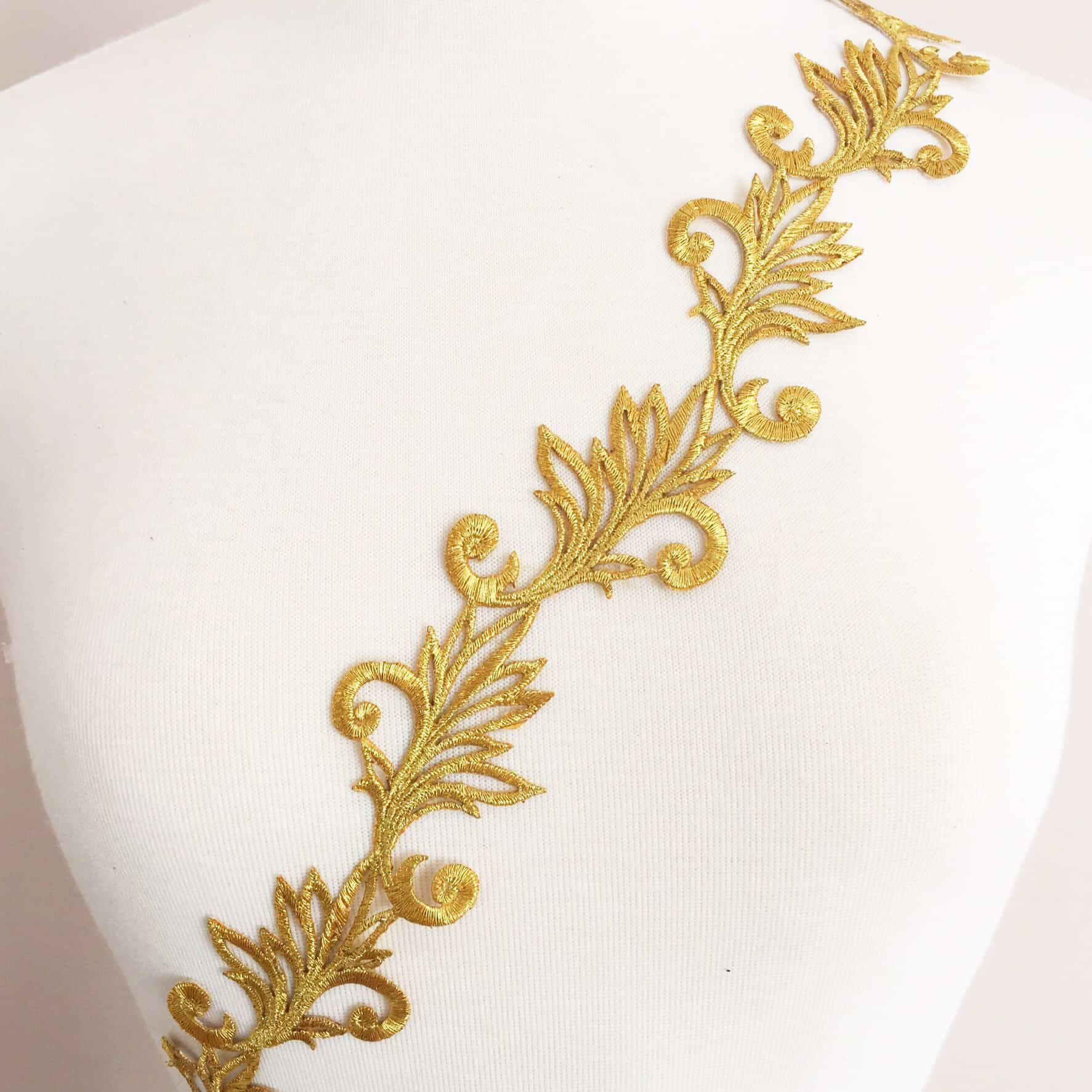 Embroidered renaissance leaf scroll trim shine