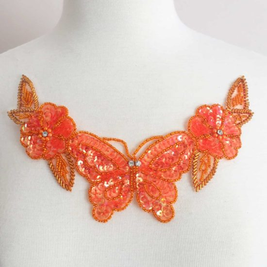 Butterfly Flower Beaded Sequin Neckpiece