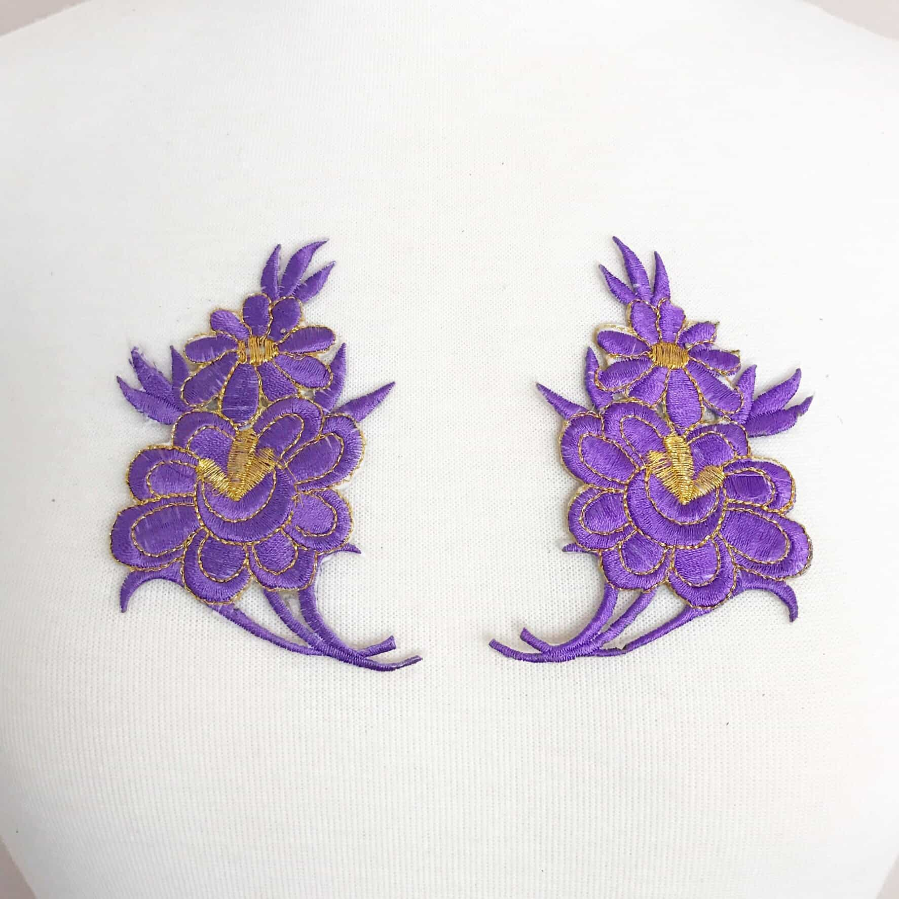 Matching Floral Embroidered Patches (SOLD AS PAIR)