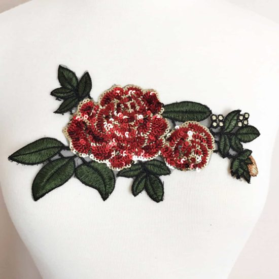 Rose Leaf Sequin Embroidered Applique