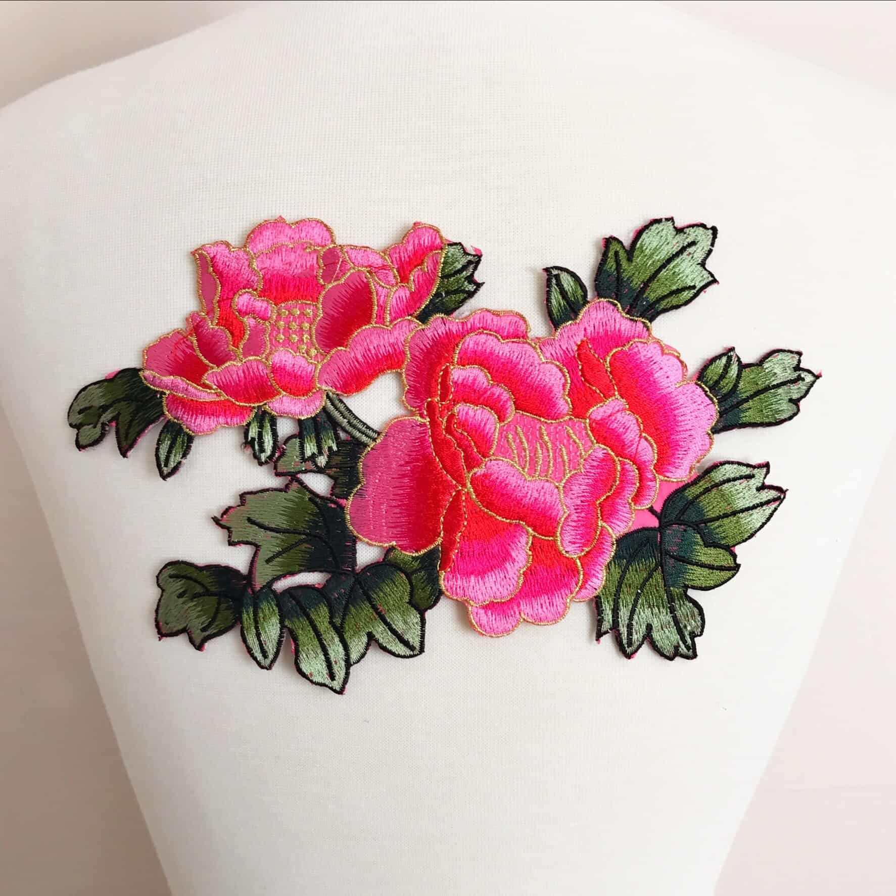 Embroidered Peony Bouquet Applique